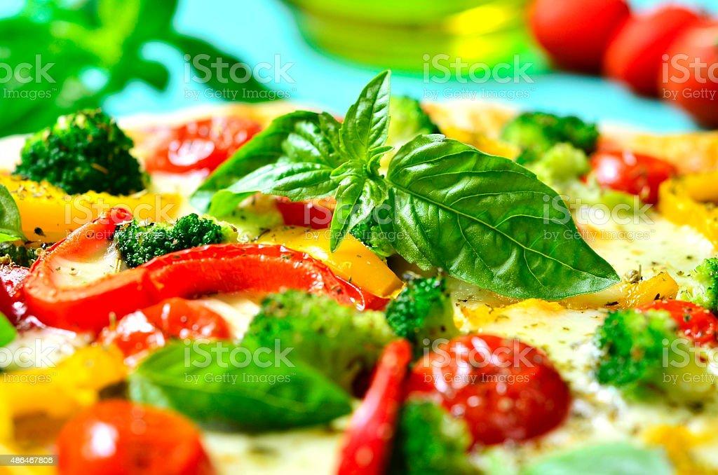 Fresh homemade veggie pizza. stock photo