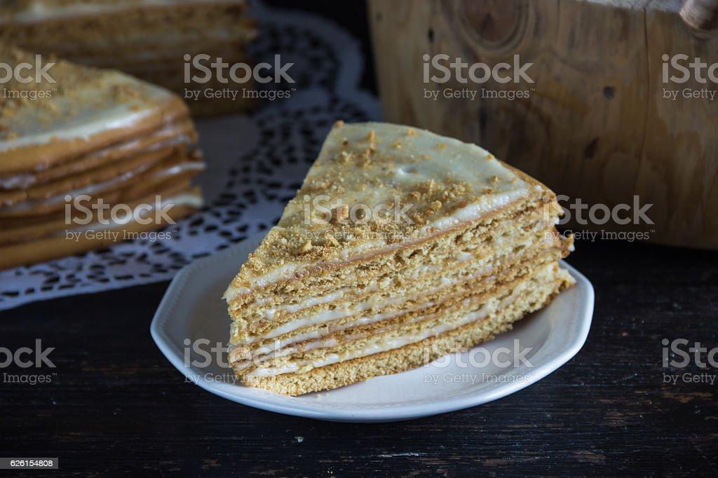 fresh honey cake, cut, stock photo