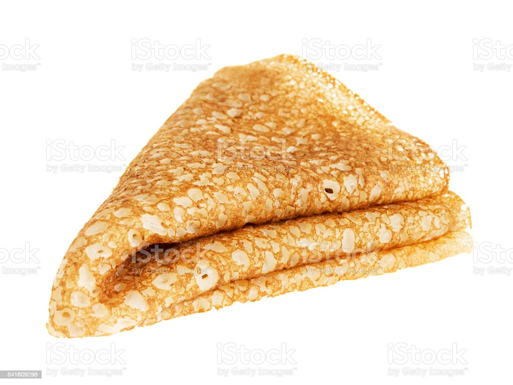fresh hot blin or crepe isolated on white stock photo