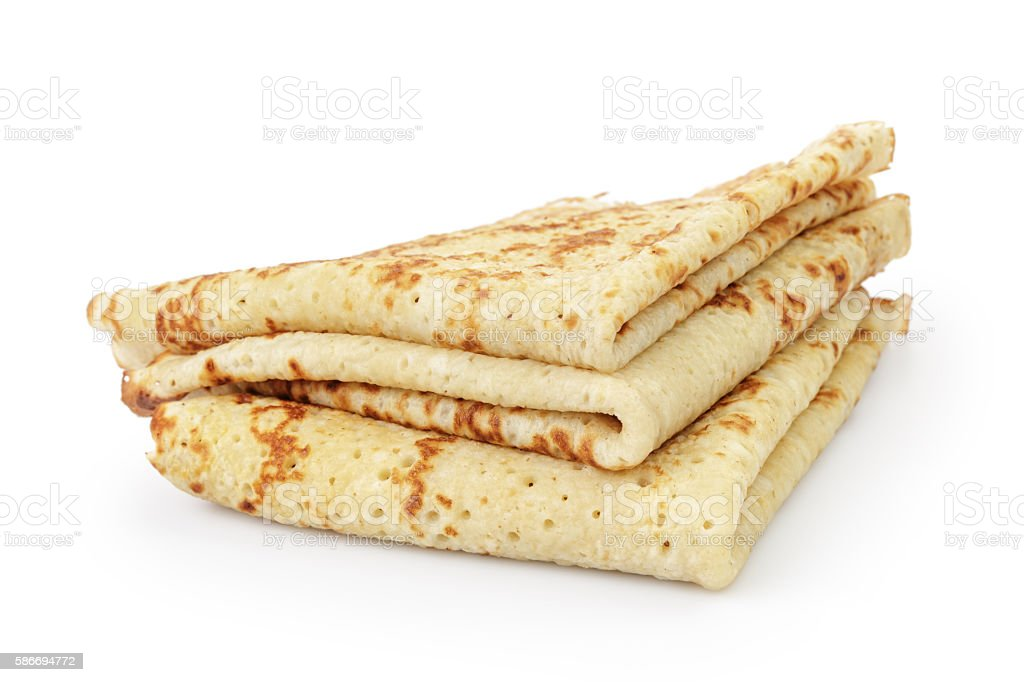 fresh hot blinis or crepes isolated stock photo