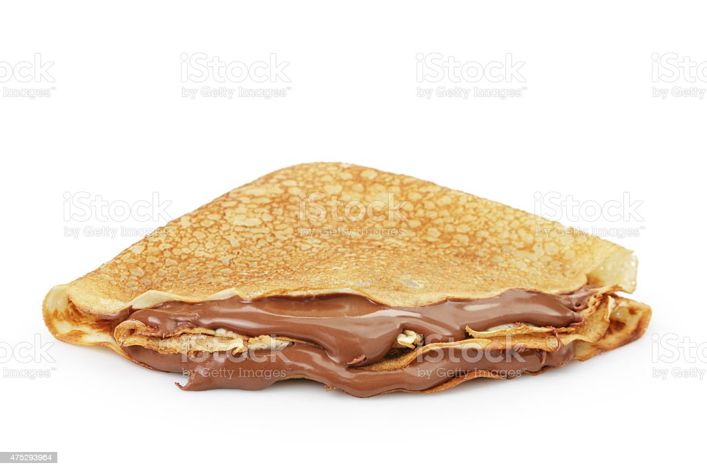 fresh hot blinis or crepes  with chocolate spread isolated stock photo