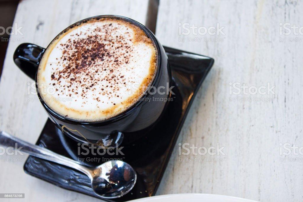 Fresh hot cappuccino stock photo