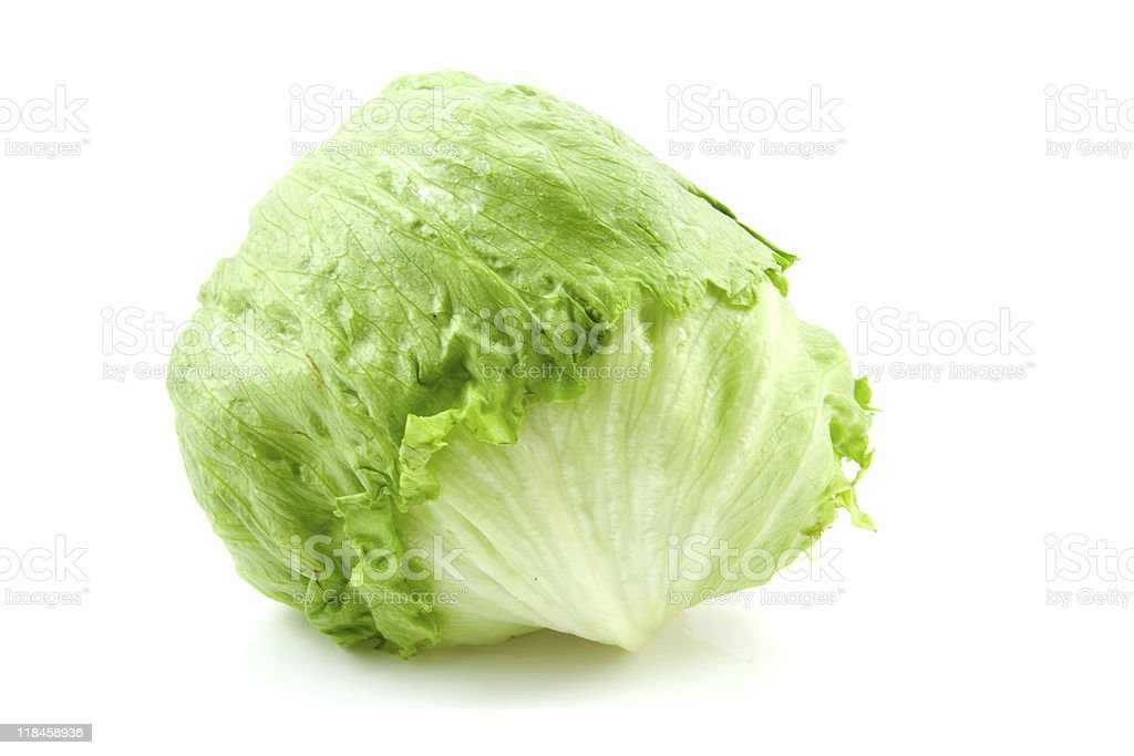 Fresh iceberg lettuce stock photo