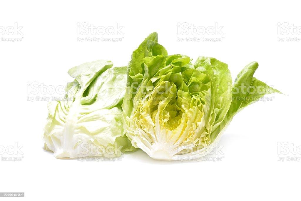 Fresh iceberg salad isolated on white background stock photo