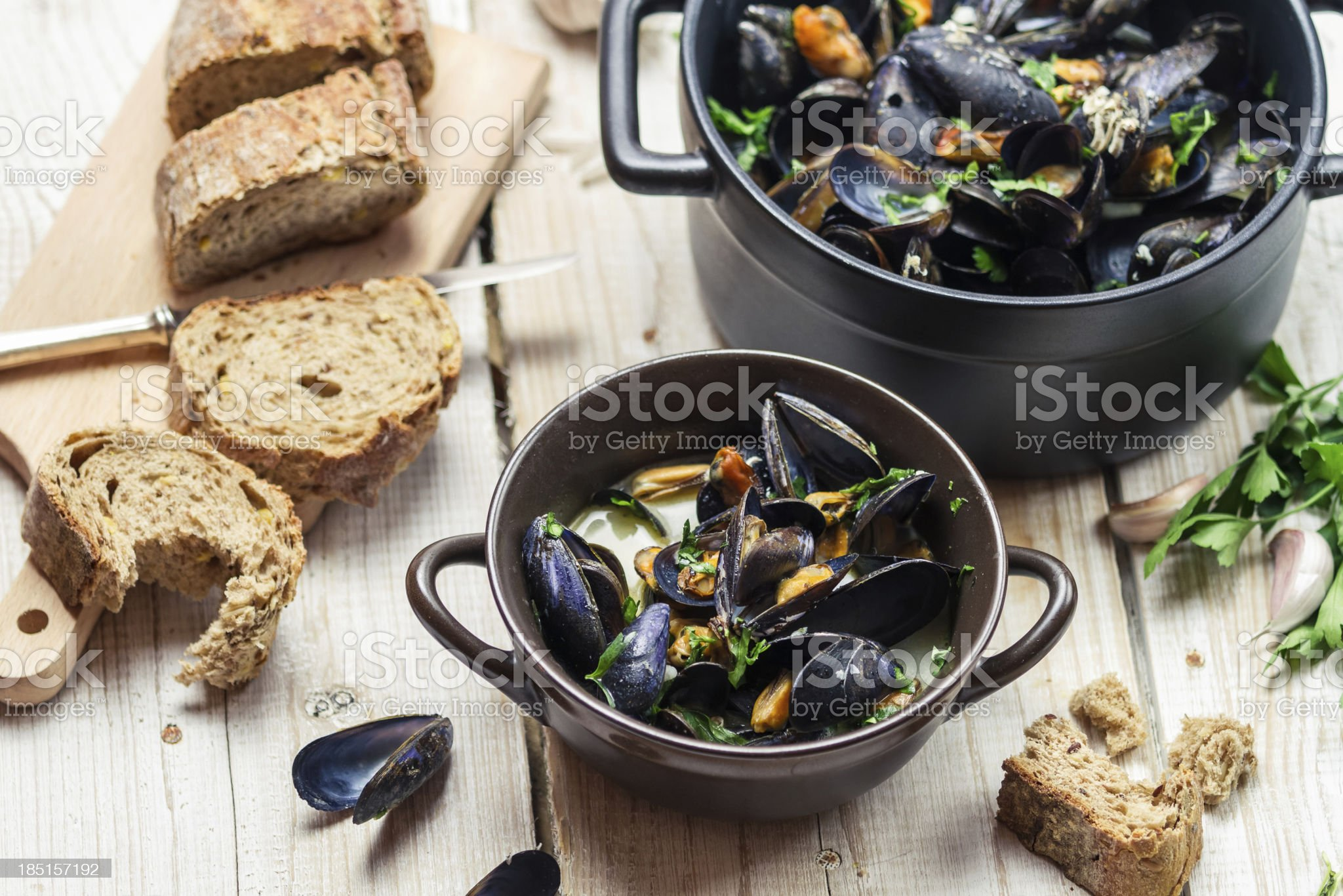 Fresh ingredients for a dish cooked with mussels royalty-free stock photo