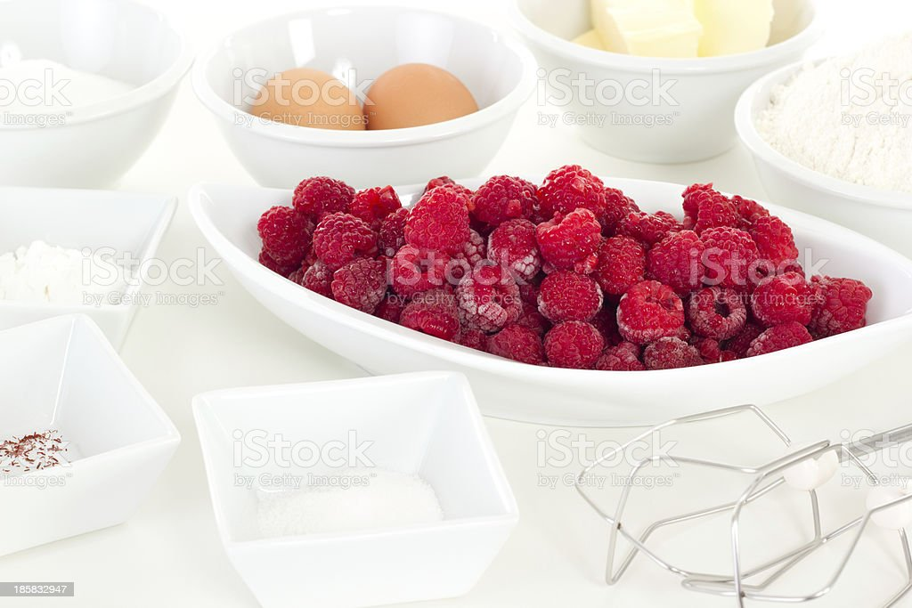 Fresh ingredients for cake with raspberries stock photo