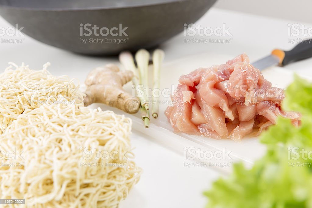 Fresh Ingredients for Chicken Wok royalty-free stock photo