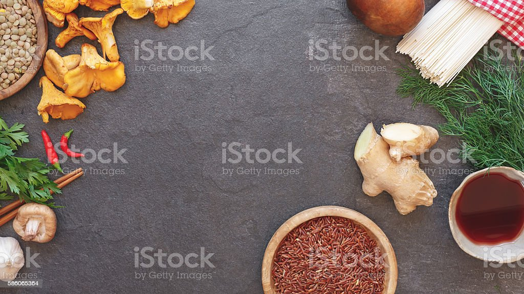 Fresh ingredients for cooking on rustic background stock photo