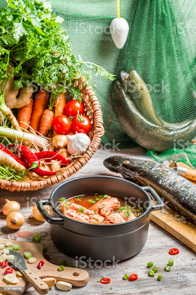 Fresh ingredients for fish soup stock photo