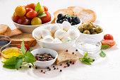 fresh ingredients for salad with mozzarella