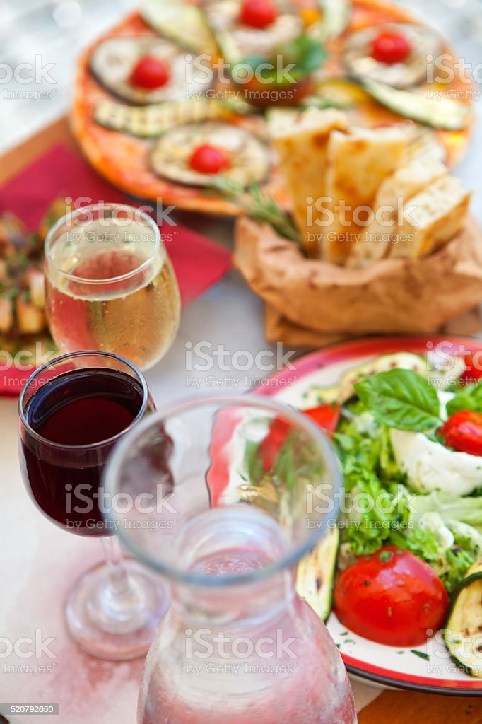Fresh Italian lunch outdoors stock photo
