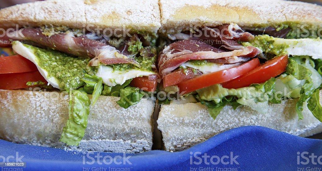 Fresh Italian Sub Sandwich with Pesto royalty-free stock photo