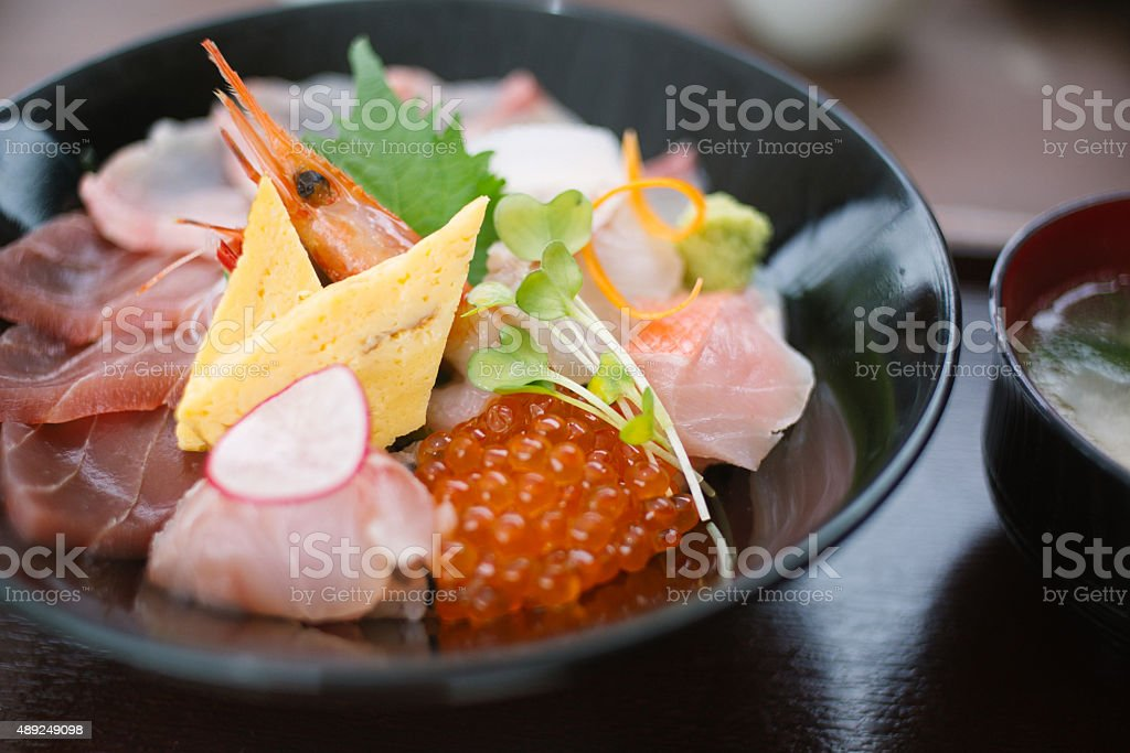 Fresh Japanese raw fish rice bowl stock photo