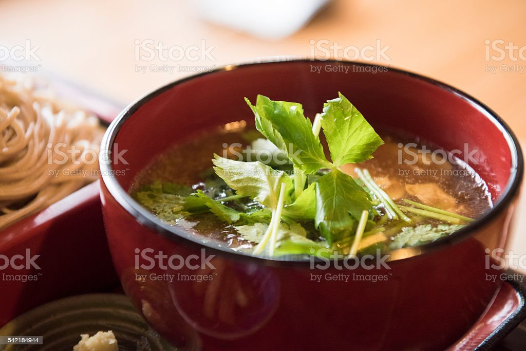 Fresh Japanese soup in bowel, close up stock photo