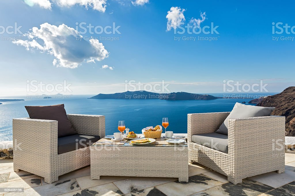 Fresh juice and  Breakfast on the sea stock photo
