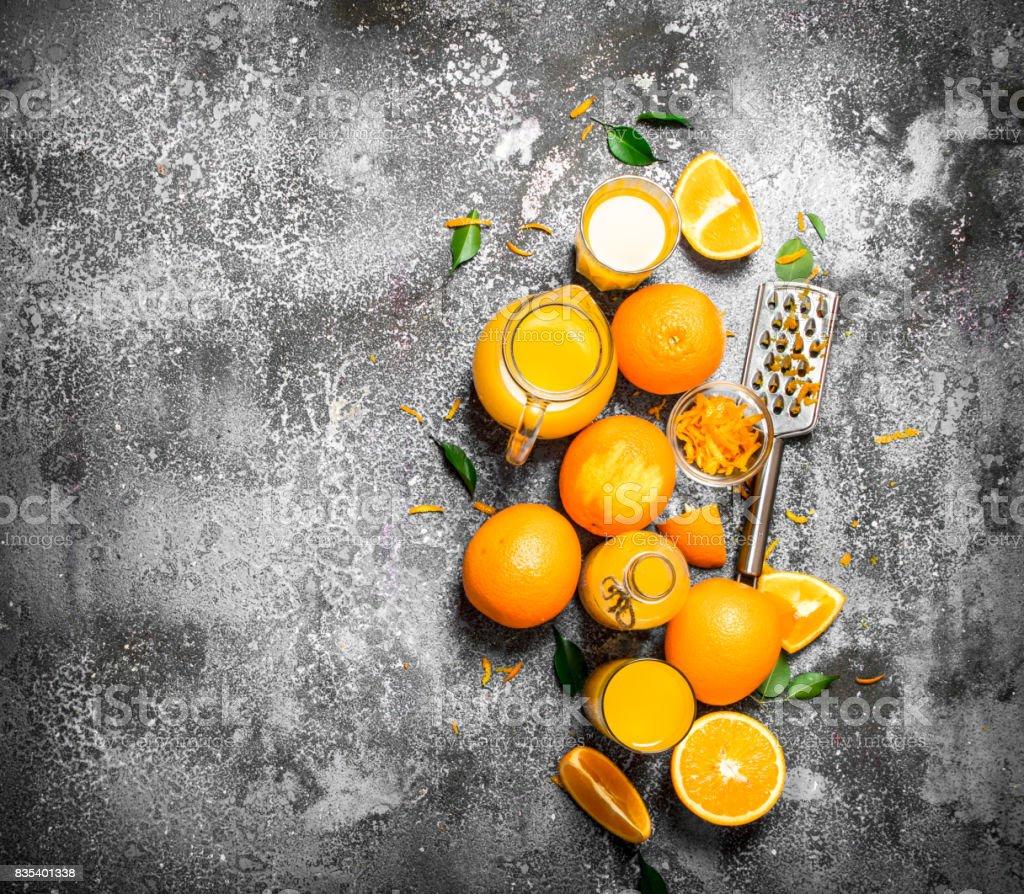 Fresh juice from ripe oranges . stock photo