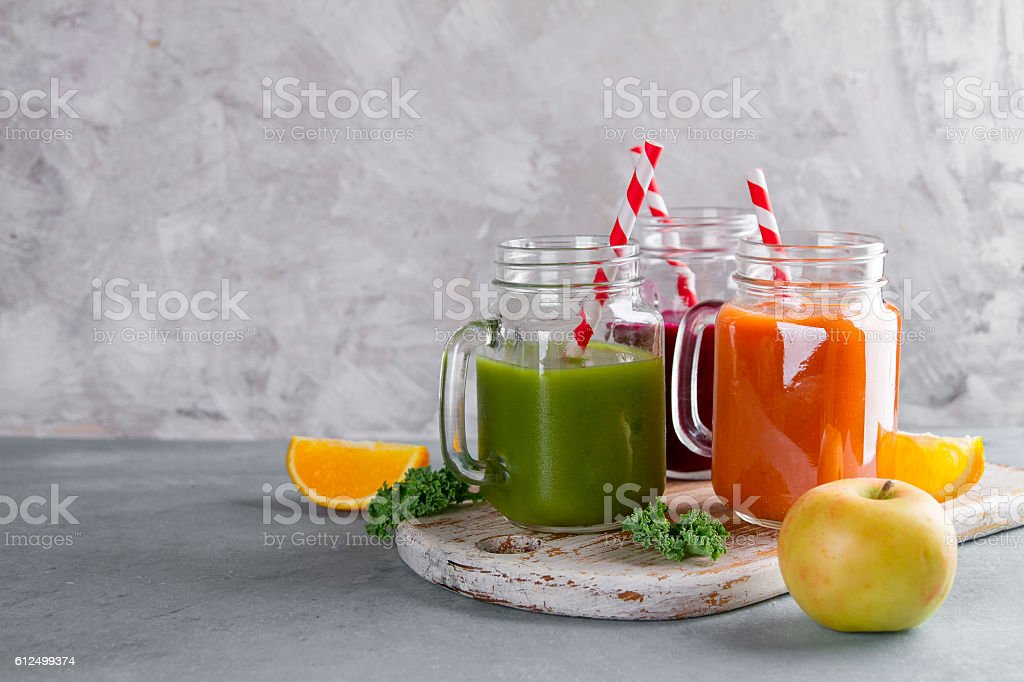 Fresh juice in the jar for detox or healthy lifestyle stock photo