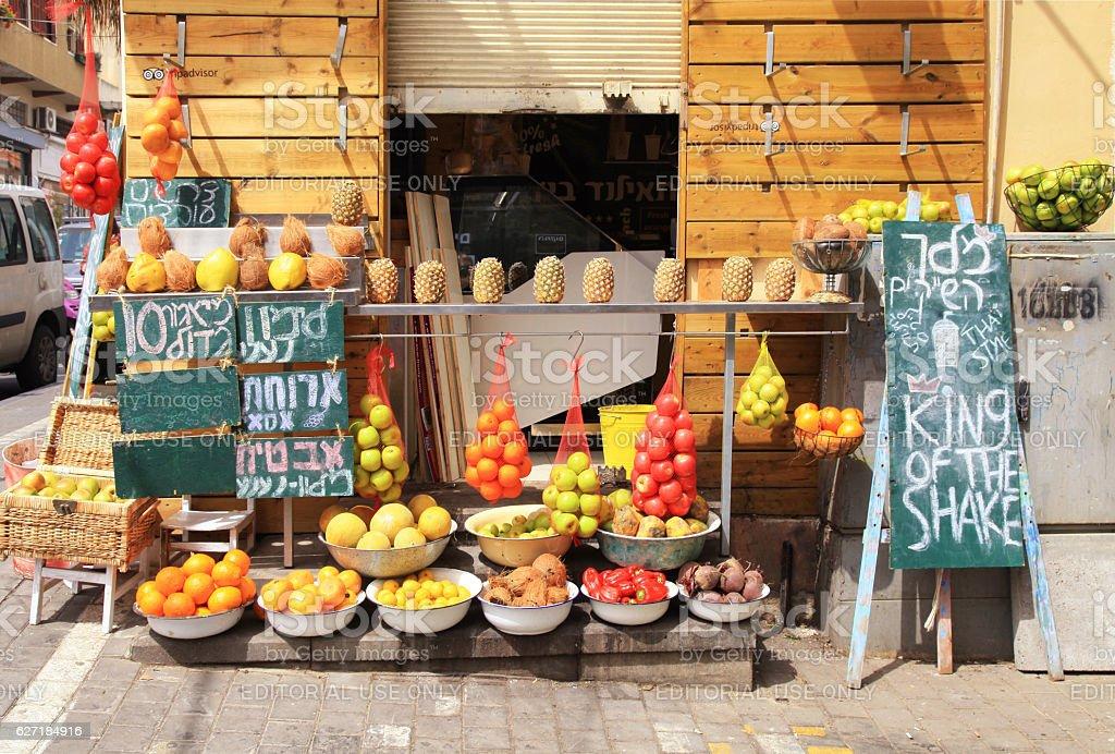 Fresh juice stall on Old market Yafo, Tel Aviv, Israel. stock photo