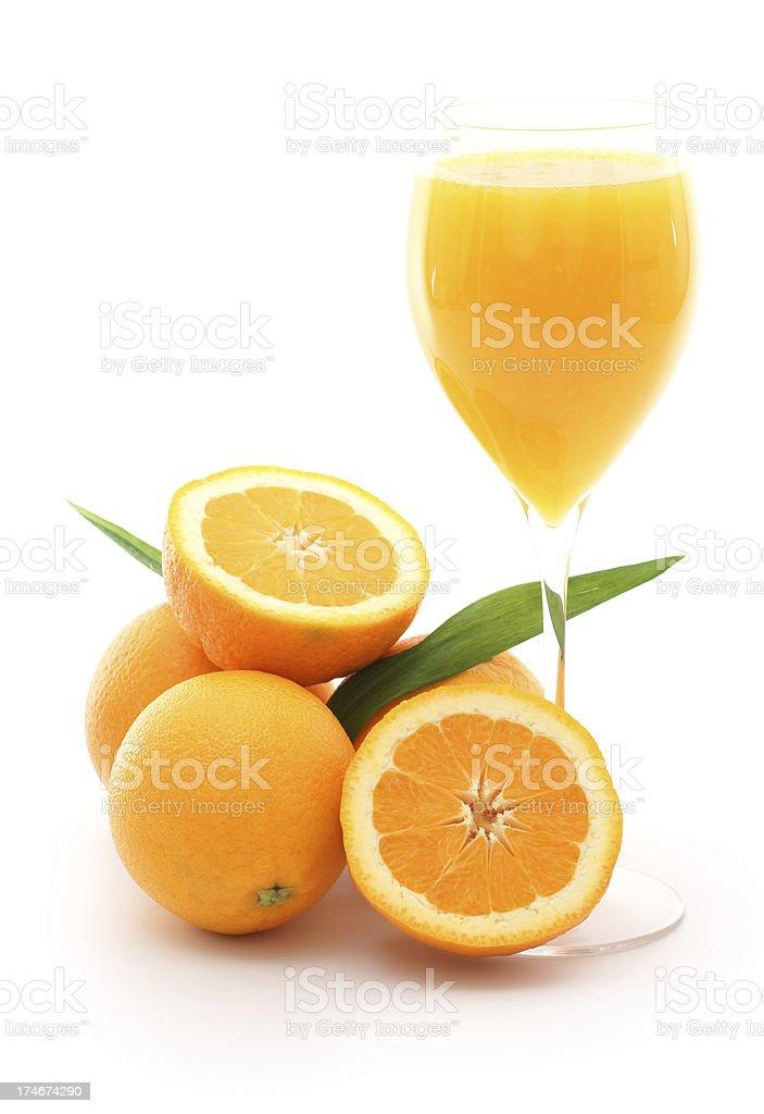 Fresh juice with oranges isolated royalty-free stock photo