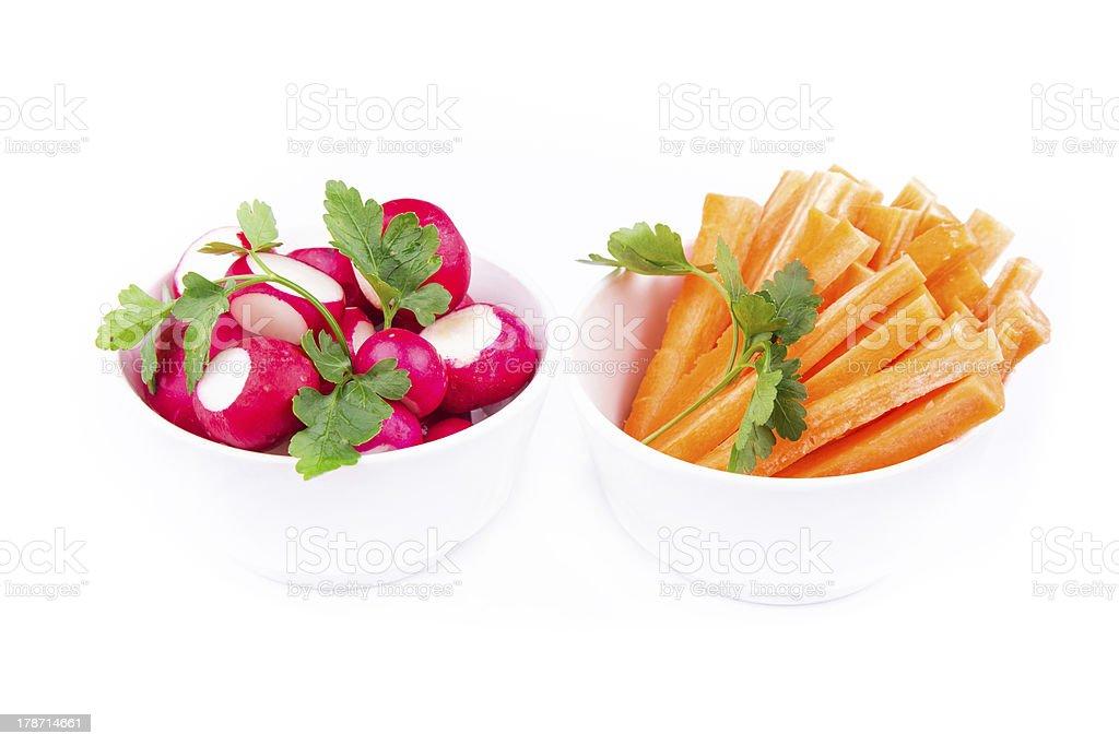Fresh juicy carrot and radish ready to eat royalty-free stock photo