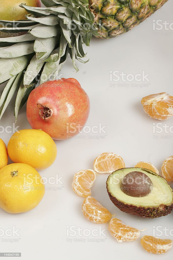 Fresh juicy fruits isolated on white royalty-free stock photo