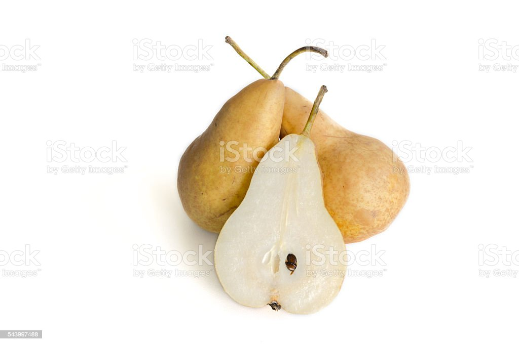 Fresh juicy pears on white background stock photo