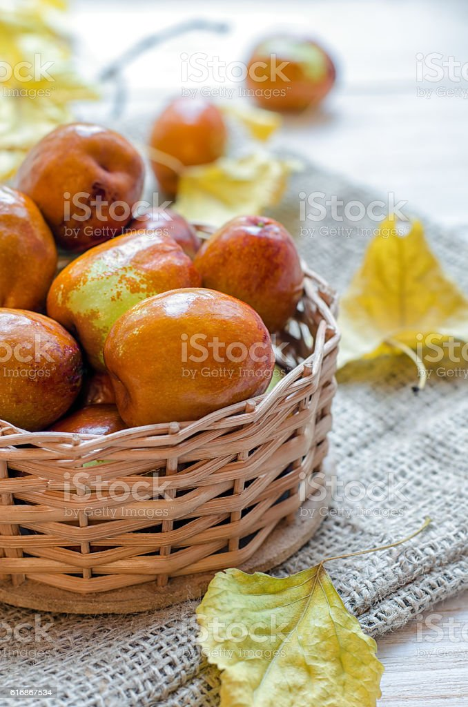 Fresh jujube or chinese date in a small basket stock photo