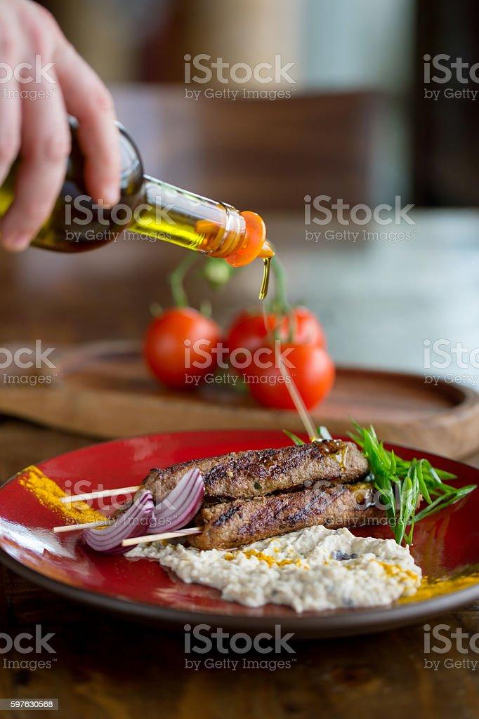 Fresh kebab in plate stock photo