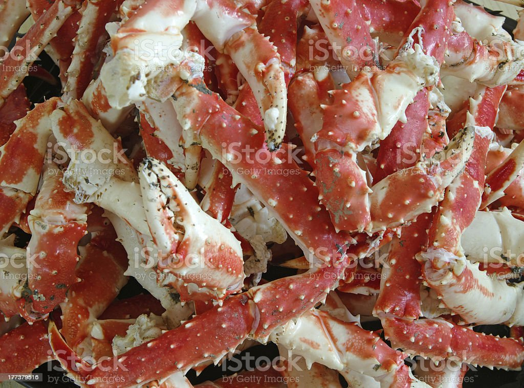 Fresh King Crab Legs on ice stock photo