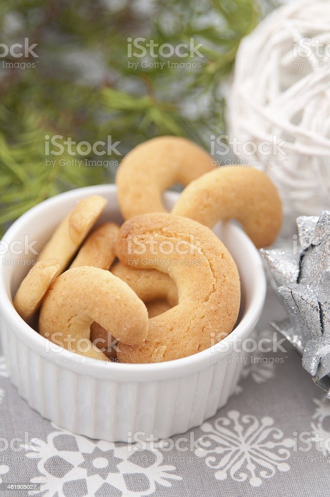 Fresh kipferl cookies, an austrian pastry, made for christmas stock photo