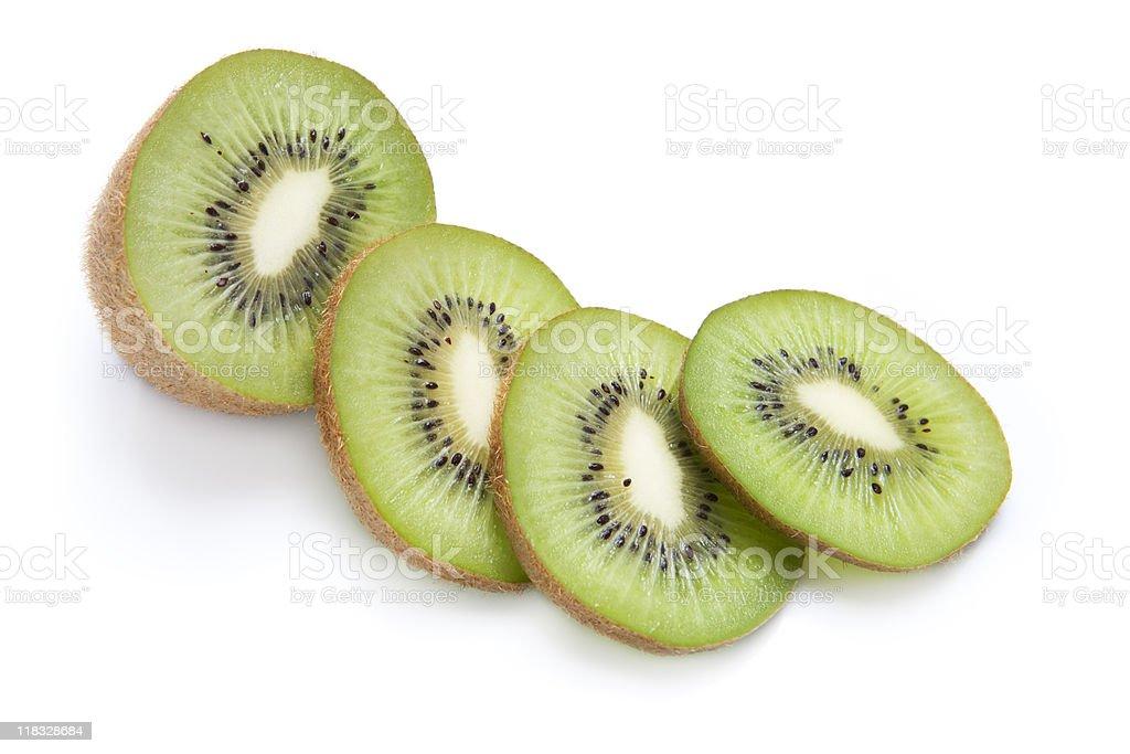 Fresh Kiwi and Slices Isolated on White stock photo