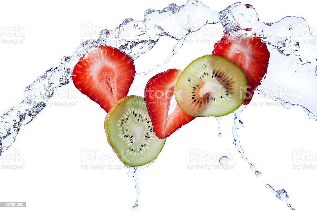 Fresh Kiwi and Strawberry Slices Tossed With Water, White Background stock photo