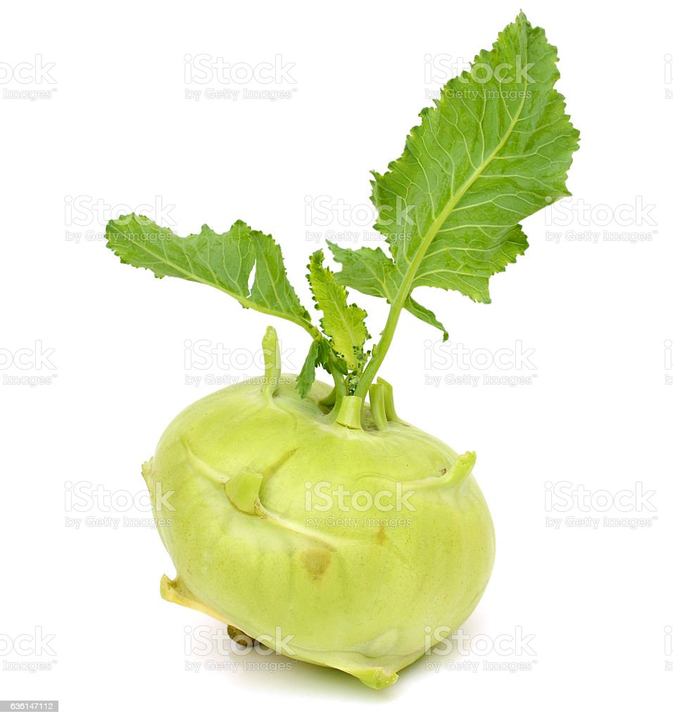 fresh kohlrabi isolated on white background stock photo