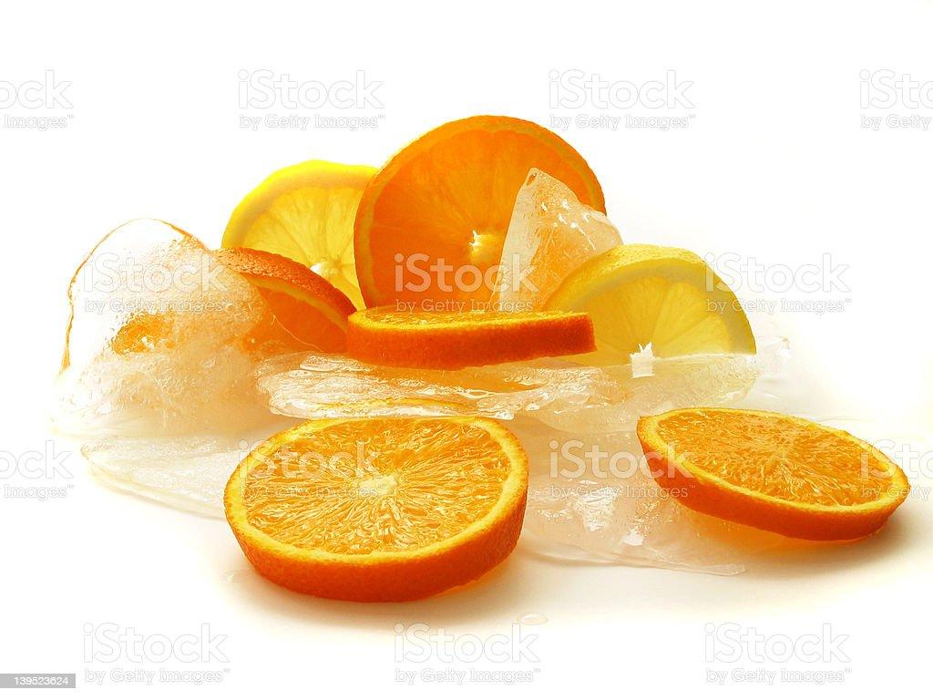 Fresh lemon on ice stock photo