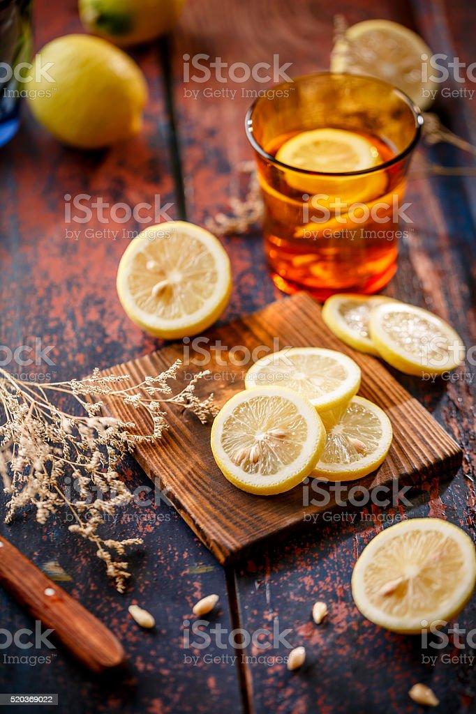 Fresh Lemon with water stock photo