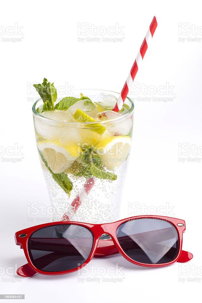 Fresh lemonade and sunglasses royalty-free stock photo