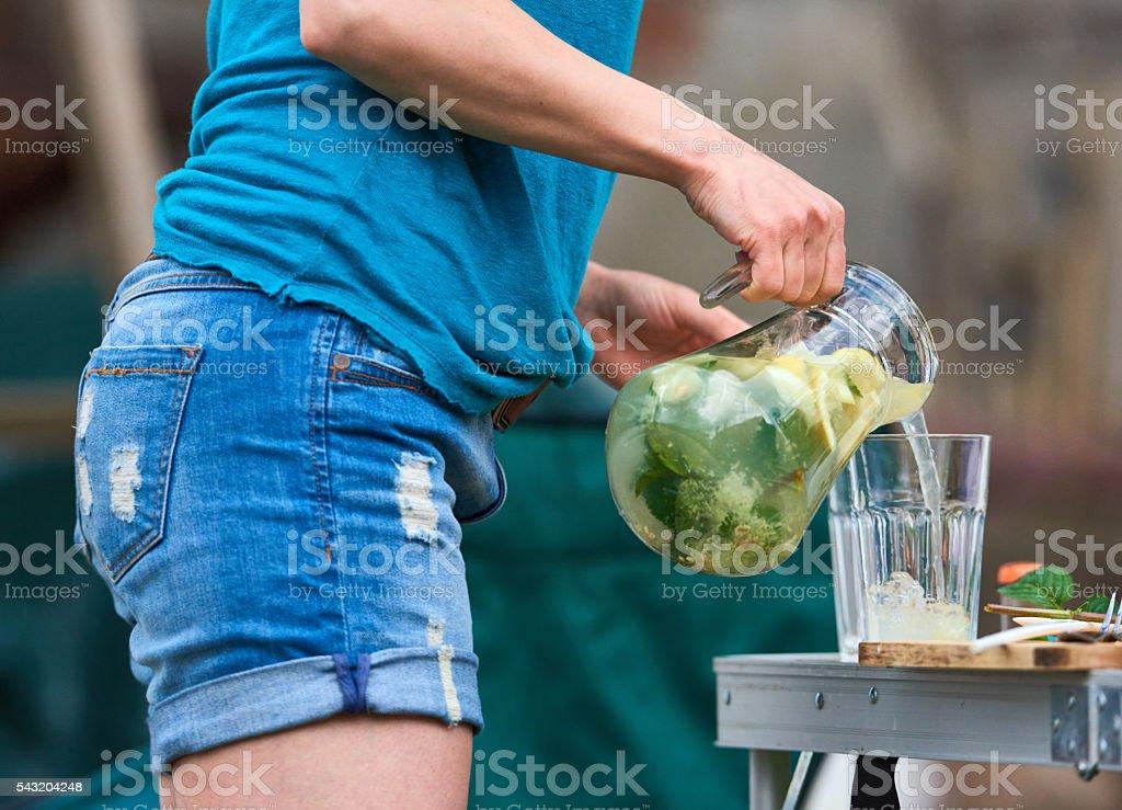 fresh lemonade for hot days stock photo