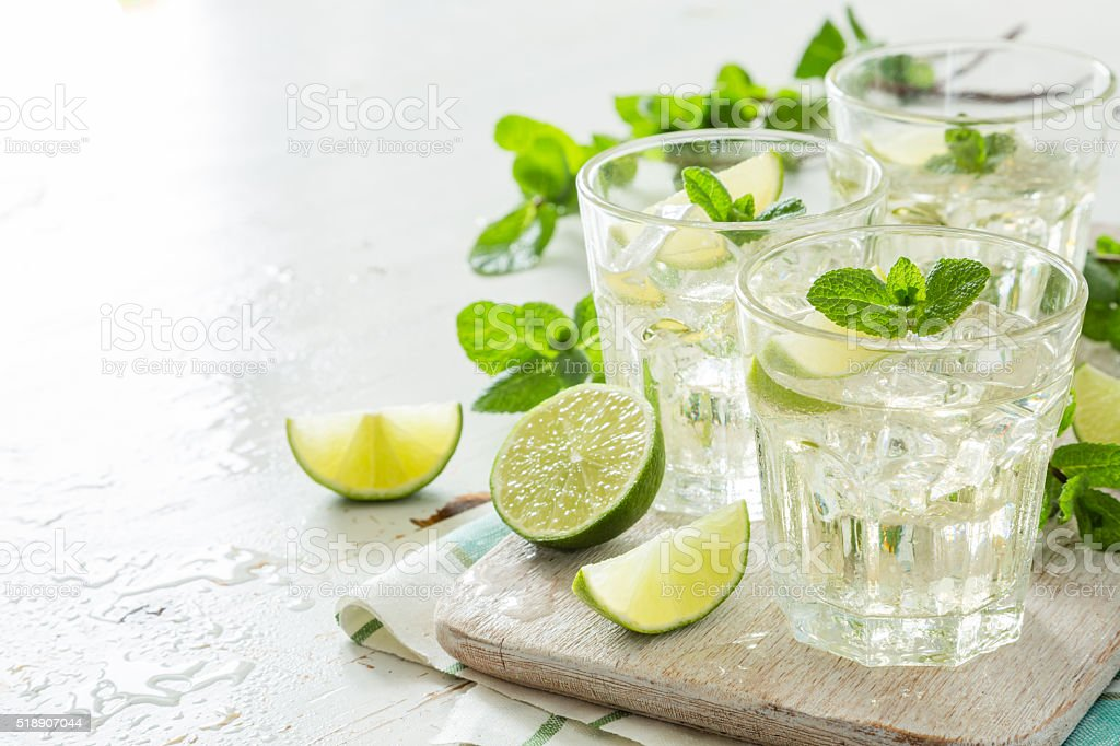 Fresh lemonade in glasses stock photo