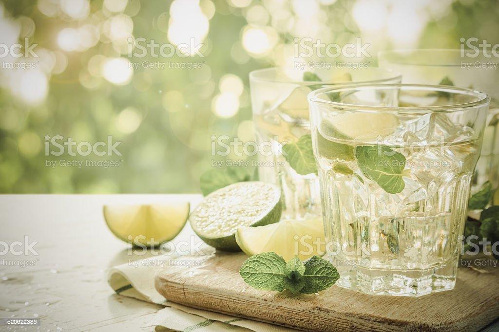 Fresh lemonade in glasses stock photo