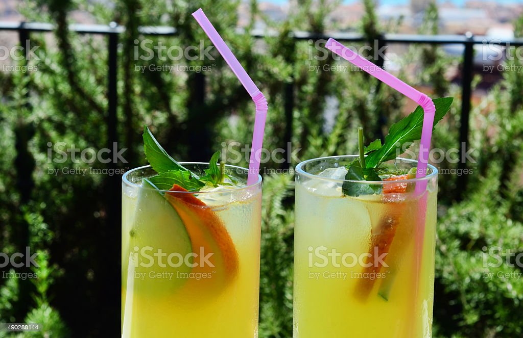 Fresh lemonade with ice and mint stock photo