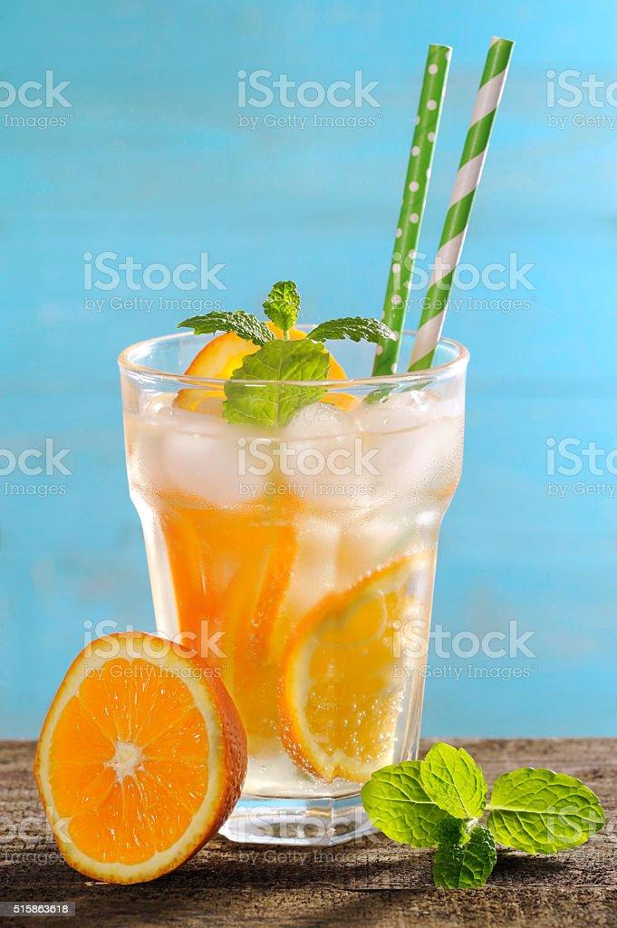 fresh lemonades with fruits stock photo