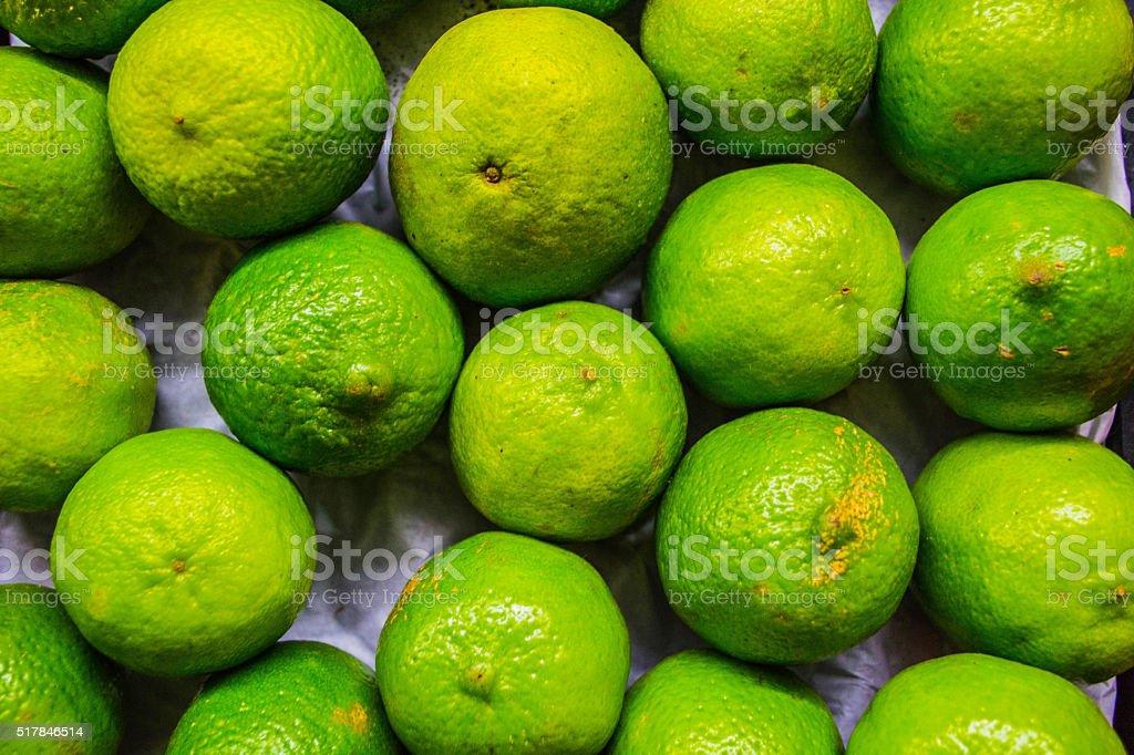 Fresh lemons at organic fair stock photo