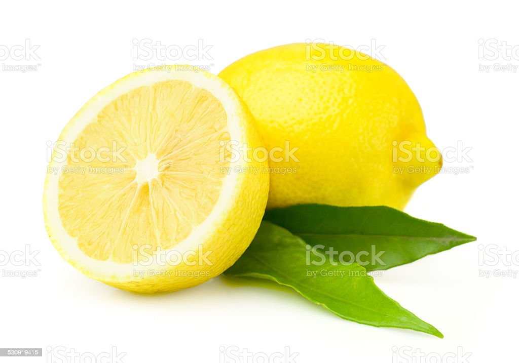 Fresh lemons with leaves stock photo