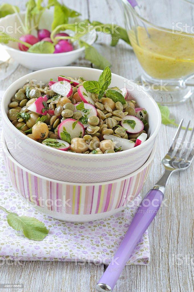 Fresh lentil salad stock photo