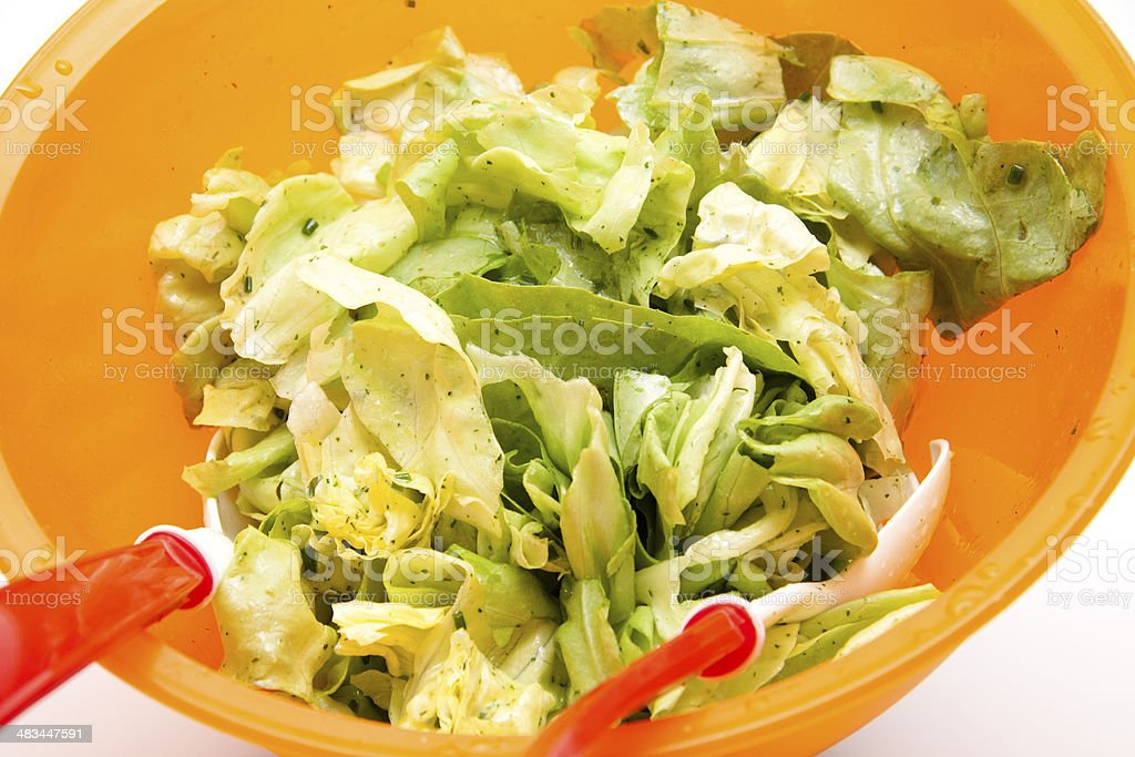 Fresh lettuce with cutlery stock photo