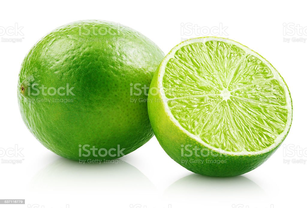 Fresh lime citrus fruit with slice stock photo