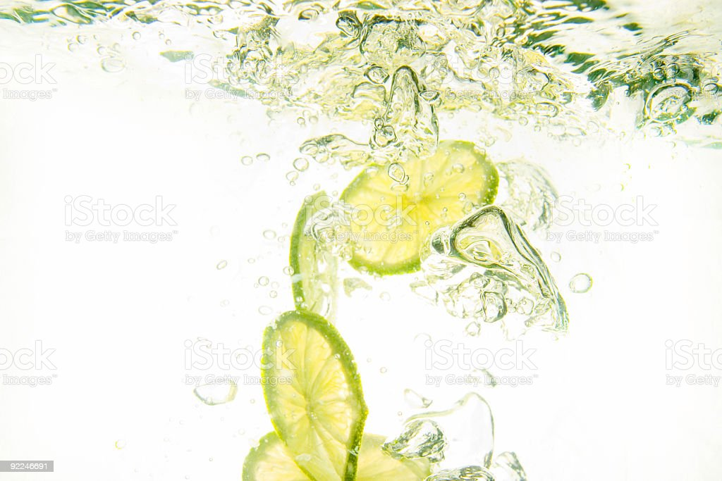 Fresh Lime in Water stock photo