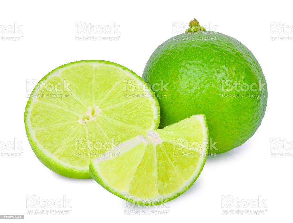 fresh lime isolated on white stock photo
