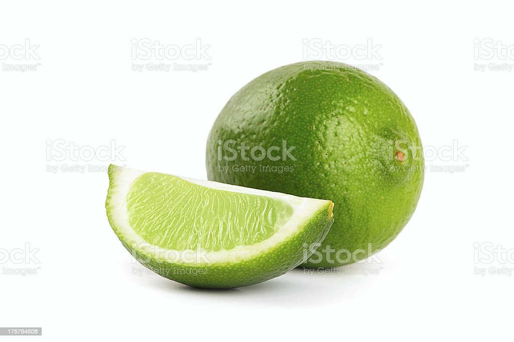 Fresh limes Isolated on white stock photo