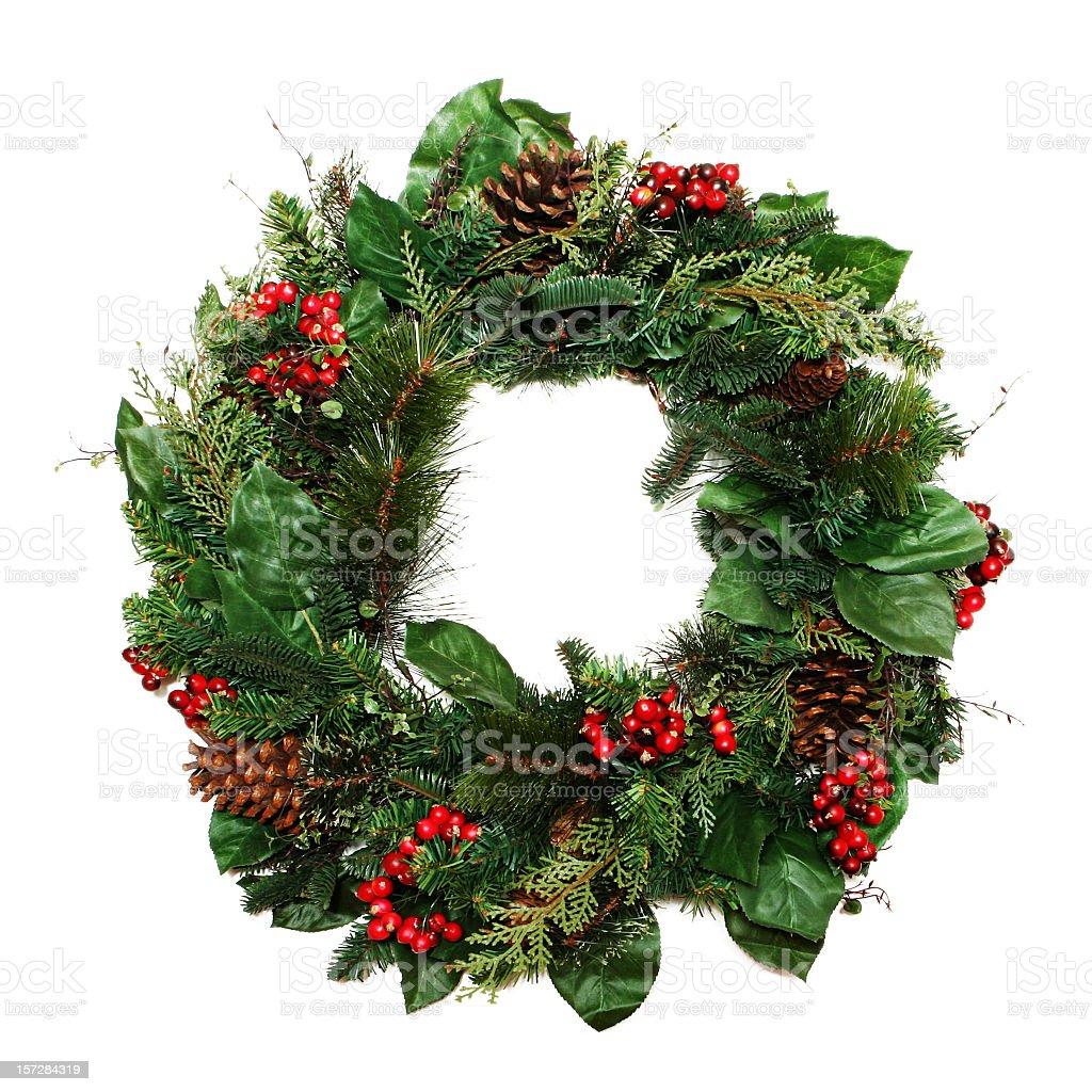 Fresh line scented holiday Christmas wreath stock photo